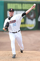 Sean Newcomb (31) of the Inland Empire 66ers warms up in the bullpen before pitching during a game against the Stockton Ports at San Manuel Stadium on June 28, 2015 in San Bernardino, California. Stockton defeated Inland Empire, 4-1. (Larry Goren/Four Seam Images)