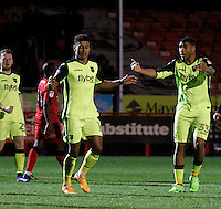Exeter City's Ollie Watkins celebrates his goal during the Sky Bet League 2 match between Crawley Town and Exeter City at Broadfield Stadium, Crawley, England on 28 February 2017. Photo by Carlton Myrie / PRiME Media Images.