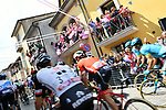 The start of Stage 9 of the 2018 Giro d'Italia, running 225km from Pesco Sannita to Gran Sasso d'Italia (Campo Imperatore), this year's Montagna Pantani, Italy. 13th May 2018.<br /> Picture: LaPresse/Gian Mattia D'Alberto | Cyclefile<br /> <br /> <br /> All photos usage must carry mandatory copyright credit (&copy; Cyclefile | LaPresse/Gian Mattia D'Alberto)