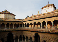 High angle view of Patio de las Doncellas (Courtyard of the Maidens), Real Alcazar, Seville, Spain, pictured on December 26, 2006, in the morning. The upper storey of the Patio was built by Luis de Vega under the reign of Charles V, 1540-1572. The Real Alacazar was commissioned by Pedro I of Castile in 1364 to be built in the Mudejar style by Moorish craftsmen. The palace, built on the site of an earlier Moorish palace, is a stunning example of the style and a UNESCO World heritage site. Picture by Manuel Cohen.