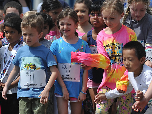 Children get ready to compete in the the Kids Mini Marathon in Eisenhower Park's Safety Town during Long Island Marathon Weekend festivities on Saturday, May 5, 2018.