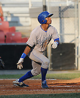 Outfielder Cam Connor (30) of the Burlington Royals, Appalachian League affiliate of the Kansas City Royals, in a game against the Kingsport Mets on August 20, 2011, at Hunter Wright Stadium in Kingsport, Tennessee. Kingsport defeated Burlington, 17-14. (Tom Priddy/Four Seam Images)