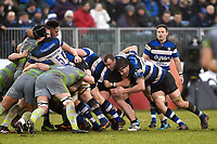 Bath Rugby forwards in action. Anglo-Welsh Cup match, between Bath Rugby and Newcastle Falcons on January 27, 2018 at the Recreation Ground in Bath, England. Photo by: Patrick Khachfe / Onside Images