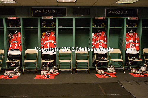 Matt Nareski (Northeastern - Manager) set up the Northeastern room with their regular red sweaters as the Fenway design was a surprise for the players. - The Boston College Eagles defeated the Northeastern University Huskies 2-1 on Saturday, January 14, 2012, at Fenway Park in Boston, Massachusetts.