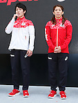 (L-R) Ryohei Kato, Saori Yoshida (JPN), MAY 26, 2016 - : A press conference about presentation of Japan national team official sportswear for Rio de Janeiro Olympics 2016 in Tokyo, Japan. (Photo by Sho Tamura/AFLO SPORT)