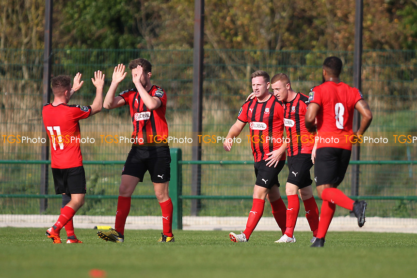 Sam Bantick (R) of Coggeshall scores his first goal and celebrates during Romford vs Coggeshall Town, Bostik League Division 1 North Football at Rookery Hill on 13th October 2018