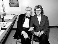 July 19,  1991 File Photo <br /> <br /> <br />  - Milton Berle honored at Montreal 1991 Just For Laugh Festival ,<br /> backstage photo with Gilbert Rozon, JFL President