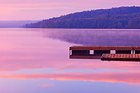 Dock and fog on Lake of Two Rivers<br />Algonquin Provincial Park<br />Ontario<br />Canada