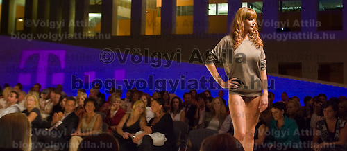 Model poses during the Bado fashion show held in the Hungarian Telecom Headquarter.