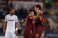 Calcio, Europa League: Roma vs Astra Giurgiu. Roma, stadio Olimpico, 29 settembre 2016.<br /> Roma&rsquo;s Federico Fazio, right, celebrates with his teammate Juan Iturbe after scoring during the Europa League Group E soccer match between Roma and Astra Giurgiu at Rome's Olympic stadium, 29 September 2016. Roma won 4-0.<br /> UPDATE IMAGES PRESS/Isabella Bonotto