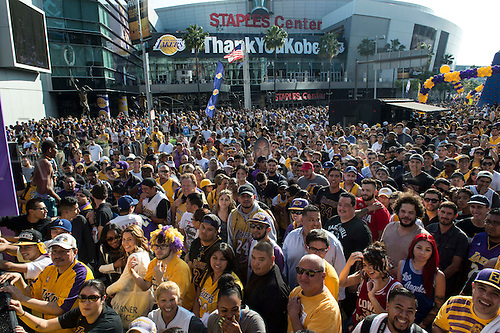 13.04.2016. Los Angeles, California, USA. Kobe fans dances in the streets during Fanfest outside Staples Center on Wednesday in Los Angeles. This was Kobe Bryant's final game.