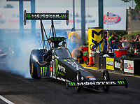 May 18, 2018; Topeka, KS, USA; NHRA top fuel driver Brittany Force during qualifying for the Heartland Nationals at Heartland Motorsports Park. Mandatory Credit: Mark J. Rebilas-USA TODAY Sports