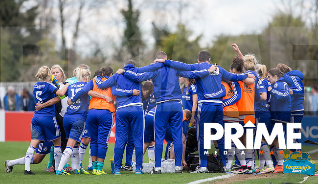 Chelsea Players & staff team huddle prior to ET during the Women's FA Cup Semi Final match between Chelsea Ladies and Manchester City Women at Wheatsheaf Park, Staines, England on 17 April 2016. Photo by Andy Rowland.