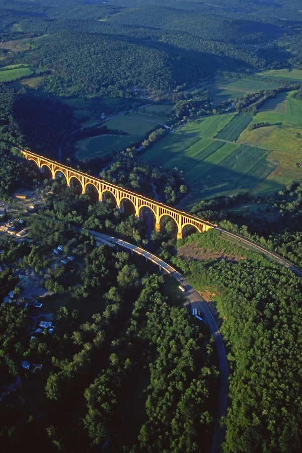 Aerial, Tunkhannock Viaduct (also known as the Nicholson Bridge), Tunkhannock Creek, Nicholson, Wyoming Co., NE PA Aerial Photograph Pennsylvania