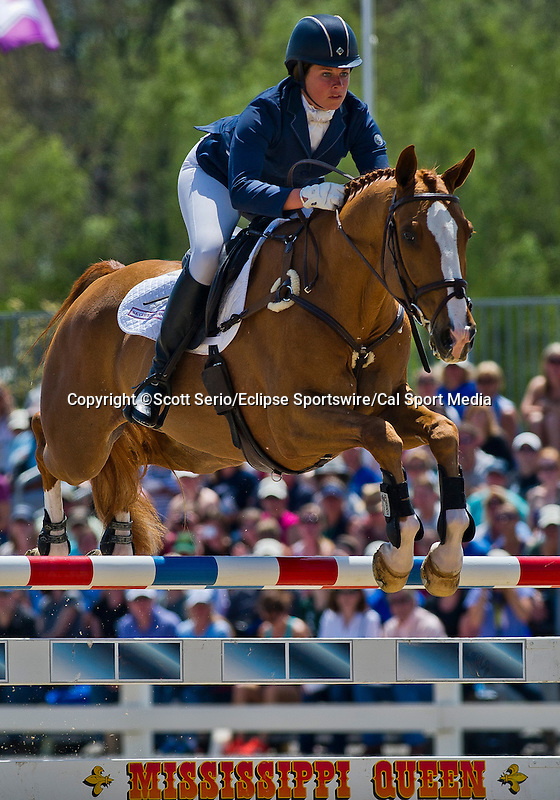 April 27, 2014: FERNHILL PRESENT, ridden by Alice Dunsdon (GBR), competes in the Stadium Jumping Finals at the Rolex Kentucky 3-Day Event at the Kentucky Horse Park in Lexington, KY. Scott Serio/ESW/CSM