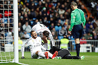 Beto of Sevilla and Benzema of Real Madrid during La Liga match between Real Madrid and Sevilla at Santiago Bernabeu Stadium in Madrid, Spain. February 04, 2015. (ALTERPHOTOS/Caro Marin) /NORTEphoto.com