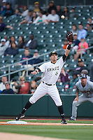 Charlotte Knights first baseman Neftali Soto (6) stretches for a throw during the game against the Scranton/Wilkes-Barre RailRiders at BB&T BallPark on May 1, 2015 in Charlotte, North Carolina.  The RailRiders defeated the Knights 5-4.  (Brian Westerholt/Four Seam Images)