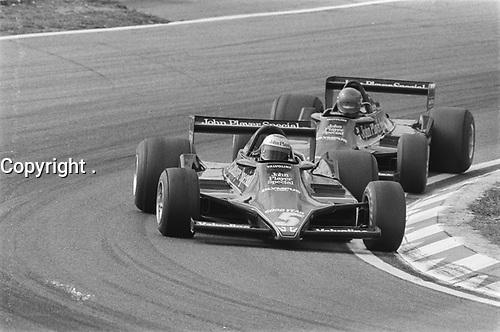 Ronnie Petterson and Mario Andretti at 1978 Dutch Grand Prix, Aug 27,1978, Zandvoort