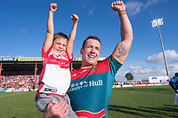 Picture by Allan McKenzie/SWpix.com - 09/09/2017 - Rugby League - Betfred Super League - Hull KR v Widnes Vikings - KC Lightstream Stadium, Hull, England - Hull KR's Shaun Lunt with son after his side regained their Super League place.