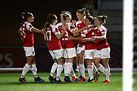 Vivianne Miedema of Arsenal scores the first goal for her team and celebrates with her team mates during Arsenal Women vs Bristol City Women, FA Women's Super League Football at Meadow Park on 14th March 2019