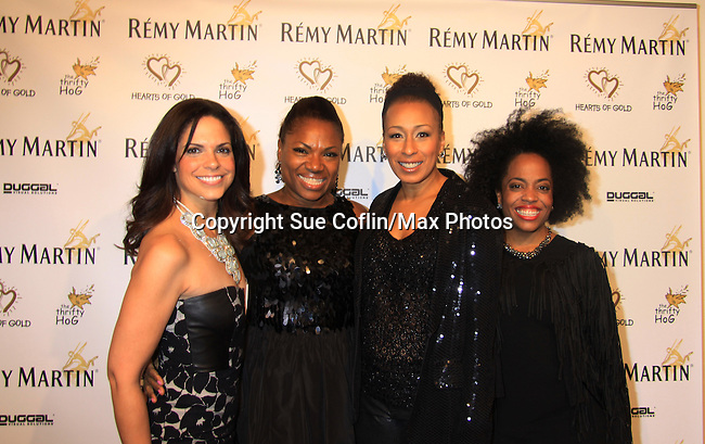 "CNN's Soledad O'Brien and ATWT Tamara Tunie (co-mistresses of ceremonies) pose with Another World's Rhonda Ross (R) and Deborah Koenigsberger (event chair) at Hearts of Gold's 16th Annual Fall Fundraising Gala & Fashion Show ""Come to the Cabaret"", a benefit gala for Hearts of Gold on November 16, 2012 at the Metropolitan Pavilion, New York City, New York.   (Photo by Sue Coflin/Max Photos)"