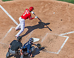 23 August 2015: Washington Nationals outfielder Michael Taylor lays down a bunt against the Milwaukee Brewers at Nationals Park in Washington, DC. The Nationals defeated the Brewers 9-5 in the third game of their 3-game weekend series. Mandatory Credit: Ed Wolfstein Photo *** RAW (NEF) Image File Available ***