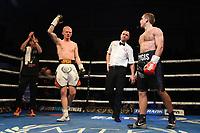 Jack Martin (white shorts) defeats Zygimantas Butkevicius during a Boxing Show at York Hall on 9th November 2019