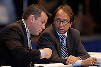 Colorado Rapids Assistant Coach John Murphy talks with Head Coach Fernando Clavijo  during the MLS SuperDraft at the Indiana Convention Center, Indianapolis, IA, on Jan 12, 2007.