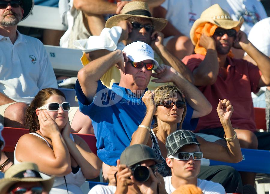 Sept. 19, 2010; Concord, NC, USA; NHRA fans react during the O'Reilly Auto Parts NHRA Nationals at zMax Dragway. Mandatory Credit: Mark J. Rebilas-