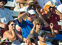 Sept. 19, 2010; Concord, NC, USA; NHRA fans react during the O'Reilly Auto Parts NHRA Nationals at zMax Dragway. Mandatory Credit: Mark J. Rebilas-