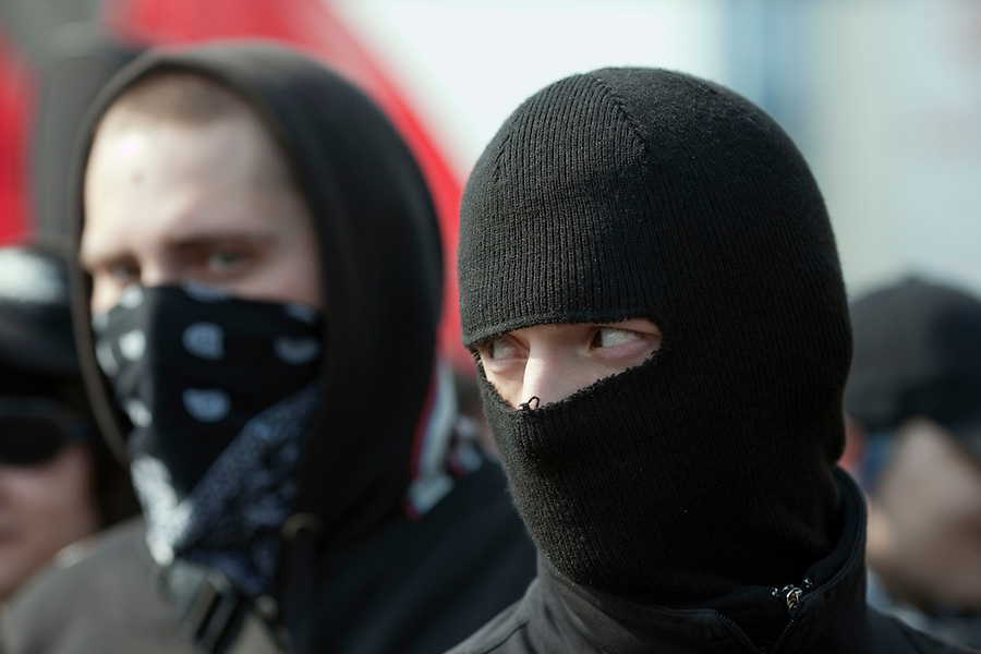 Moscow, Russia, 01/05/2010..Masked anarchists demonstrate in central Moscow. A variety of political groups took to the streets on the traditional Russian Mayday holiday.