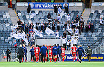 Stockholm 2014-05-04 Fotboll Superettan Hammarby IF - IFK V&auml;rnamo :  <br /> V&auml;rnamos spelare tackar V&auml;rnamos supportrar efter matchen<br /> (Foto: Kenta J&ouml;nsson) Nyckelord:  Superettan Tele2 Arena Hammarby HIF Bajen V&auml;rnamo supporter fans publik supporters jubel gl&auml;dje lycka glad happy