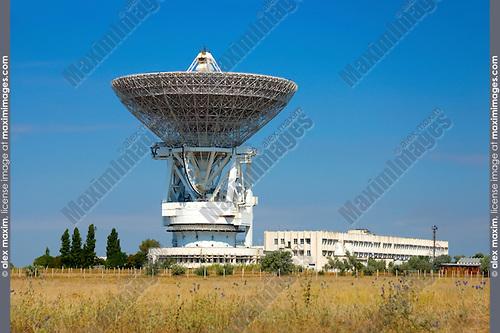 Porabolic dish at space control center in Crimea Ukraine