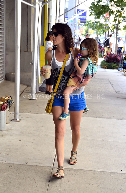 WWW.ACEPIXS.COM....July 24 2012, New York City....Actress Cobie Smulders carries her daughter Shaelyn Cado Killam around Soho on July24 2012 in New York City....By Line: Curtis Means/ACE Pictures......ACE Pictures, Inc...tel: 646 769 0430..Email: info@acepixs.com..www.acepixs.com