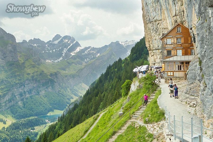 Image Ref: SWISS068<br /> Location: Berggasthaus Aescher, Switzerland<br /> Date of Shot: 21st June 2017