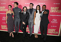 "14 June 2017 - Los Angeles, California - Lily James, Ansel Elgort, Edgar Wright, Jon Hamm, Eiza Gonzalez, Jaime Foxx.""Baby Driver"" Los Angeles Premiere held at the Ace Hotel. Photo Credit: F. Sadou/AdMedia"