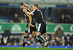 Marc Albrighton of Leicester City celebrates with Riyad Mahrez of Leicester City after the penalty decision<br /> - Barclays Premier League - Everton vs Leicester City - Goodison Park - Liverpool - England - 19th December 2015 - Pic Robin Parker/Sportimage