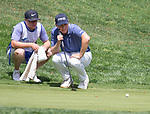 Ollie Osborne lines up a putt on the 10th hole during the Barracuda Championship PGA golf tournament at Montrêux Golf and Country Club in Reno, Nevada on Thursday, July 25, 2019.