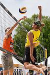 09.05.2015, Muenster, Schlossplatz<br /> smart beach tour, Supercup MŸnster / Muenster, Hauptfeld<br /> <br /> Block Alexander Walkenhorst - Angriff Stattford Slick<br /> <br />   Foto &copy; nordphoto / Kurth