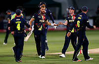 Ivan Thomas is congratulated after taking the wicket of Paul Walter during the Vitality Blast T20 game between Kent Spitfires and Essex Eagles at the St Lawrence Ground, Canterbury, on Thu Aug 2, 2018