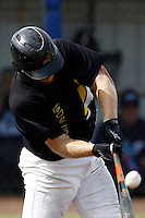 10 September 2011: Bas Nooij of L&D Amsterdam Pirates makes contact during game 4 of the 2011 Holland Series won 6-2 by L&D Amsterdam Pirates over Vaessen Pioniers, in Amsterdam, Netherlands.