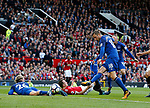 Gylfi Sigurdsson of Everton scores but is ruled out for offside during the premier league match at the Old Trafford Stadium, Manchester. Picture date 17th September 2017. Picture credit should read: Simon Bellis/Sportimage
