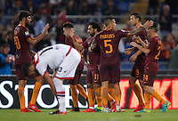 Calcio, Serie A: Roma, stadio Olimpico, 21 settembre 2016.<br /> Roma&rsquo;s Mohamed Salah, center, celebrates with teammates after scoring during the Serie A soccer match between Roma and Crotone at Rome's Olympic stadium, 21 September 2016. Roma won 4-0.<br /> UPDATE IMAGES PRESS/Isabella Bonotto