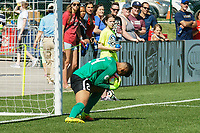 Kansas City, MO - Saturday May 13, 2017:  Adrianna Franch makes a save during a regular season National Women's Soccer League (NWSL) match between FC Kansas City and the Portland Thorns FC at Children's Mercy Victory Field.