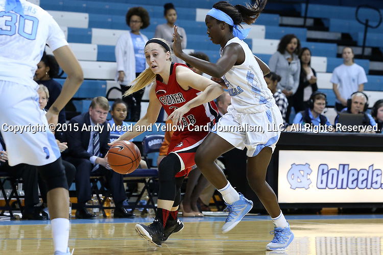 13 November 2015: Gardner-Webb's Tierra Huntsman (left) and North Carolina's Destinee Walker (right). The University of North Carolina Tar Heels hosted the Gardner-Webb University Runnin' Bulldogs at Carmichael Arena in Chapel Hill, North Carolina in a 2015-16 NCAA Division I Women's Basketball game. Gardner-Webb won the game 66-65.