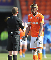 Blackpool's Armand Gnanduillet remonstrates with referee Peter Wright<br /> <br /> Photographer Kevin Barnes/CameraSport<br /> <br /> The EFL Sky Bet League One - Blackpool v Peterborough United - Saturday 13th April 2019 - Bloomfield Road - Blackpool<br /> <br /> World Copyright &copy; 2019 CameraSport. All rights reserved. 43 Linden Ave. Countesthorpe. Leicester. England. LE8 5PG - Tel: +44 (0) 116 277 4147 - admin@camerasport.com - www.camerasport.com
