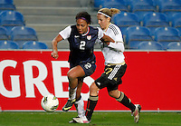 US's Sydney Leroux fights for the ball with Germany's Jennifer Cramer during their Algarve Women's Cup soccer match at Algarve stadium in Faro, March 13, 2013.  .Paulo Cordeiro/ISI