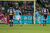 9th January 2018, nib Stadium, Perth, Australia; A League football, Perth Glory versus Melbourne City; Ross McCormack Melbourne City forward scores from the penalty spot during the first half
