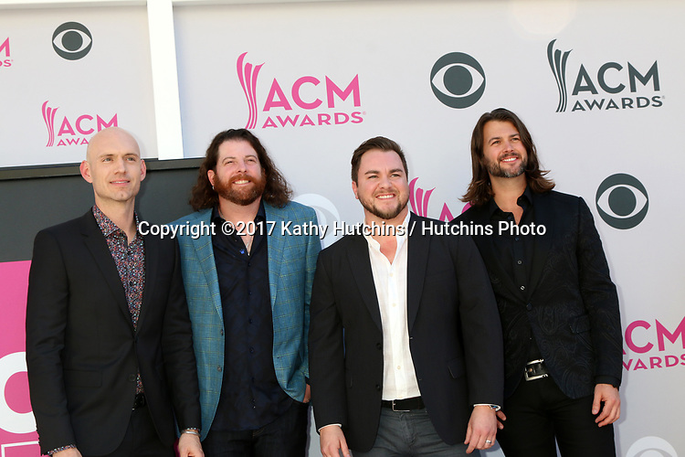 LAS VEGAS - APR 2:  Jon Jones, James Young, Mike Eli, Chris Thompson at the Academy of Country Music Awards 2017 at T-Mobile Arena on April 2, 2017 in Las Vegas, NV