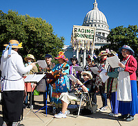 Madison's Raging Grannies entertain visitors to the Dane County Farmer's Market on Saturday, September 12, 2015, in Madison, Wisconsin